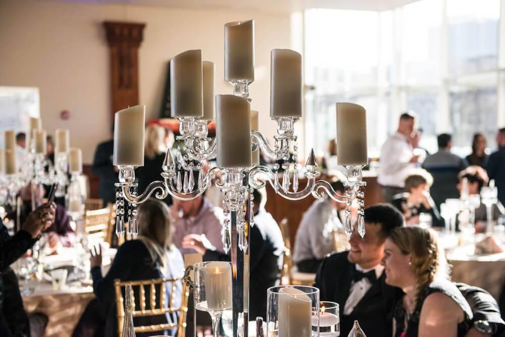 forte barattas catering event venue des moines candelabra table setting
