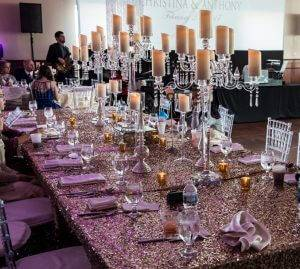 forte barattas des moines iowa event venue wedding table setting glitz glamour gold candles
