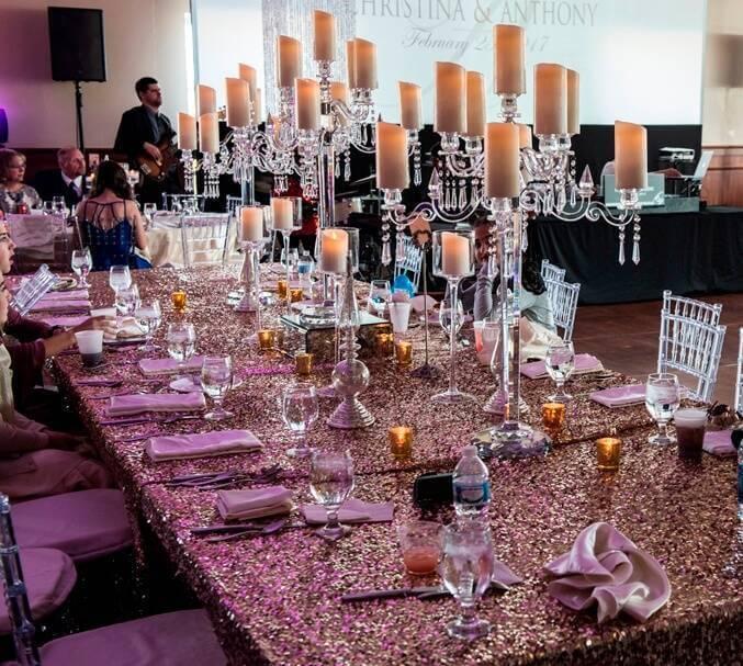 forte barattas des moines iowa event venue wedding table setting glitz glamour gold candles