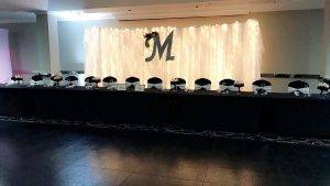 barattas at ramada des moines airport hotel iowa event venue wedding head table