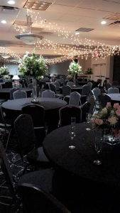 barattas at ramada des moines airport hotel iowa event venue table setting wedding