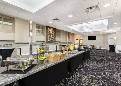 A view of the buffet at Ramada at the Des Moines Airport Hotel.