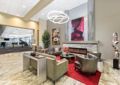 A view of the lobby at the Ramada at the Des Moines Airport Hotel.