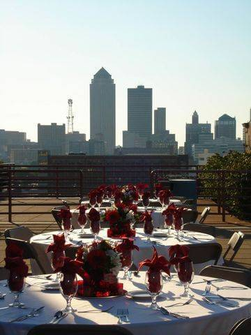 Downtown Des Moines provides the perfect backdrop to events on the terrace at the State Historical Building.