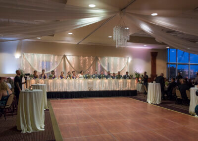 A photo of the Forte formal ballroom dance floor in front of a head table.